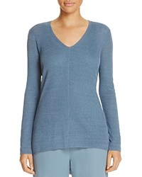 Eileen Fisher Petites V Neck High Low Sweater Blue Steel