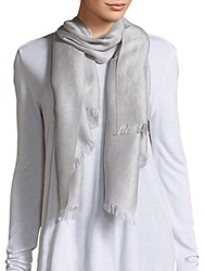 Badgley Mischka Wool Blend Printed Scarf Light Grey