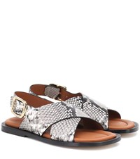 Joseph Snake Effect Leather Sandals Grey