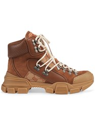Gucci Leather And Original Gg Trekking Boots Brown
