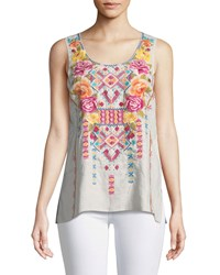 Johnny Was Vella Embroidered Tank Plus Size Sand