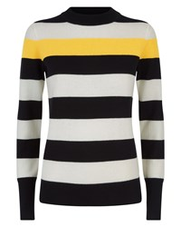 Jaeger Wool Cashmere Stripe Sweater Black