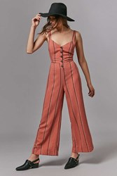 Urban Outfitters Uo Ashley Button Down Tie Back Jumpsuit Peach