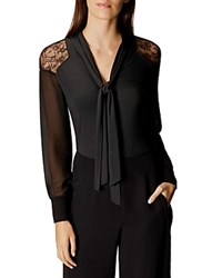 Karen Millen Lace Shoulder Tie Neck Blouse Black