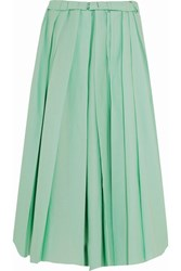 Marni Pleated Cotton Midi Skirt Mint