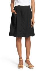 Women's Eileen Fisher Organic Linen Knee Length Skirt Black