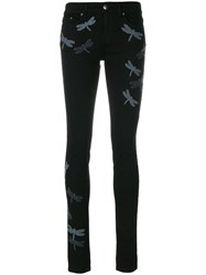 Red Valentino Dragonfly Jeans Cotton Polyester Spandex Elastane Black