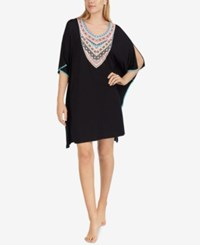 Ellen Tracy Printed Neckline Short Caftan Black