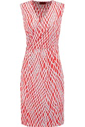 Missoni Wrap Effect Printed Stretch Knit Dress Red