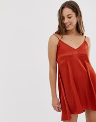 Pull And Bear Satin Slip Dress In Rust Red