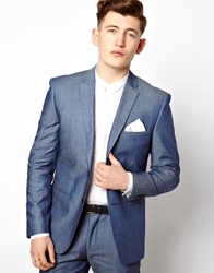 Vito Suit Jacket In Chambray Blue