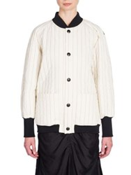 Marni Pinstripe Quilted Bomber Jacket Silk White
