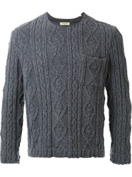 Fad Three Cable Knit Boxy Sweater Grey