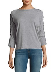 Lea And Viola Lace Sleeves Top Light Heather Grey