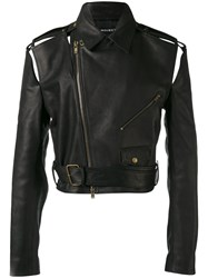 Y Project Cropped Biker Jacket Men Horse Leather S Black