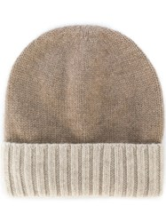 Dell'oglio Knitted Cashmere Hat Nude And Neutrals