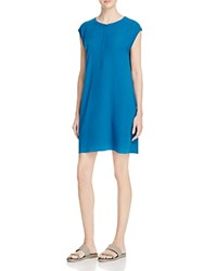Eileen Fisher Cap Sleeve Silk Shirt Dress Jewel