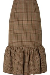 Michael Kors Collection Rumba Fluted Plaid Wool Midi Skirt Brown