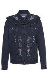 Vivetta Rennes Ruffle Denim Jacket Blue