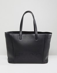 Hugo Logo Leather Shopper Bag Black