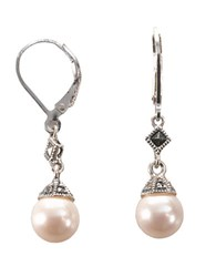Judith Jack Marcasite And Sterling Silver Pearl Drop Earrings White