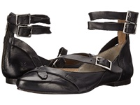 Frye Olive Strappy Black Smooth Vintage Leather Women's Dress Flat Shoes