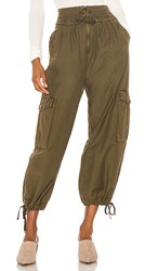 Free People Fly Away Parachute Pant In Green. Army