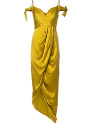 Zimmermann Winsome Drape Cocktail Dress Yellow Orange