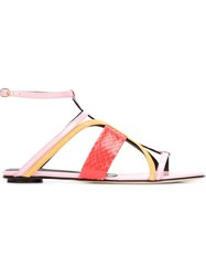 Oscar De La Renta Strappy Flat Sandals Pink And Purple