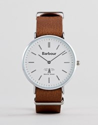 Barbour Bb055slbr Hartley Leather Watch In Brown
