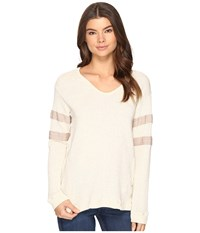 Culture Phit Liva Long Sleeve Top With Stripes Cream Women's Clothing Beige