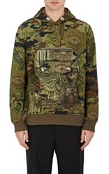 Givenchy Men's Camouflage And Money Print Hoodie Dark Green