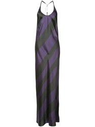 Ann Demeulemeester Striped Gown Women Silk Spandex Elastane 38 Pink Purple