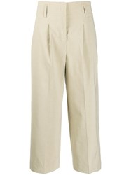 Luisa Cerano Cropped Fit Trousers Brown