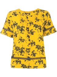Michael Michael Kors Floral Printed Blouse Yellow