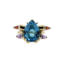 Maiko Nagayama Blue Topaz Cocktail Ring Red Blue Gold