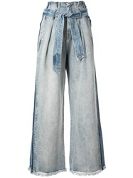 Comme Moi Two Tone Wide Leg Denim Trousers Blue