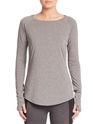 Elie Tahari Layered Fitted T Shirt Grey Melange