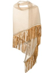 Antonia Zander Fringed Shawl Nude And Neutrals
