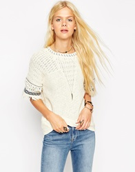 Asos Knitted Tee In Stitch With Fringing Cream