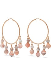 Carolina Bucci Recharmed 18 Karat Rose Gold Agate Hoop Earrings One Size