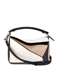 Loewe Puzzle Small Patchwork Satchel Bag White Pattern