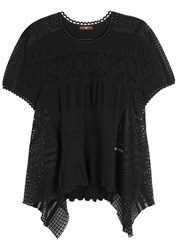 High Loose Black Mesh And Stretch Lace Top