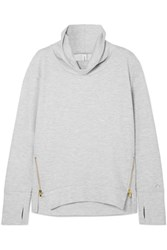 Varley Clement Zip Embellished Stretch Cotton Blend Jersey Sweatshirt Gray