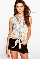 Boohoo Floral Denim Pocket Tie Front Shirt Yellow