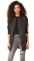 One By Alpha Industries Long Bomber Jacket Black