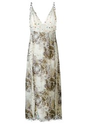 Christopher Kane Marble Print Beaded Dress Ivory