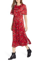 Treasure And Bond Floral Midi Dress Red Chili Windy Floral