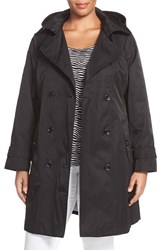 Plus Size Women's London Fog Double Breasted Trench Coat With Detachable Hood