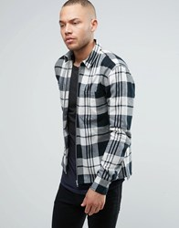 Religion Regular Fit Shirt With Zip Through In Check Cotton Black Check 3